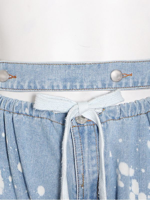 Spray Tied-Cuff Jeans