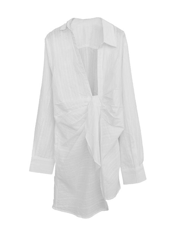 White Asymmetric Shirt Dress