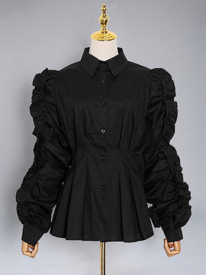 Frilled Cinched-Waist Shirt