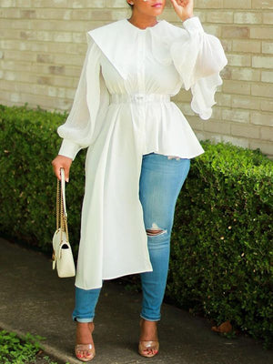 Puff-Sleeve Asymmetric Shirt