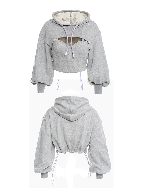 Cutout Cropped Hoodie