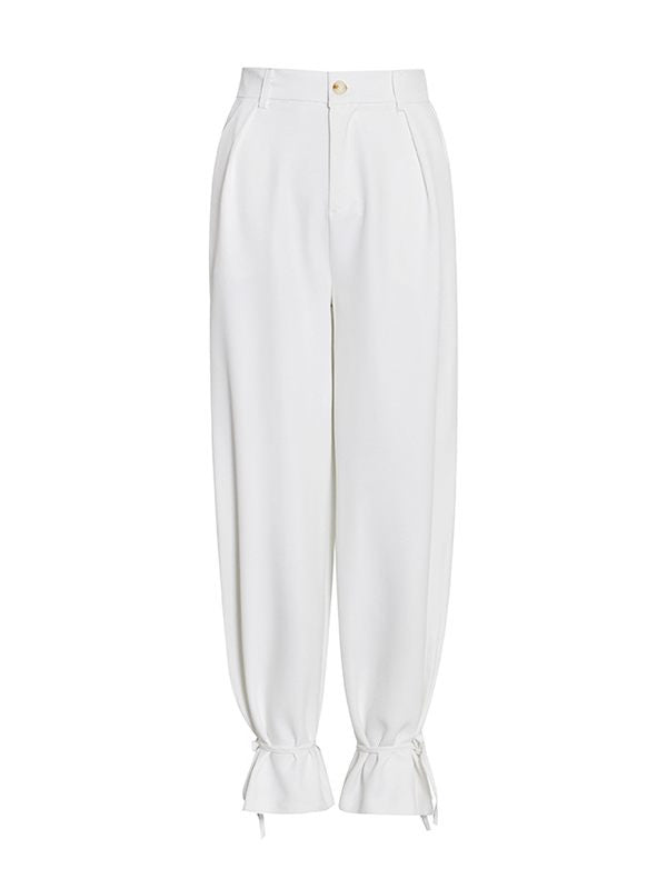 White Tied-Cuff Pants