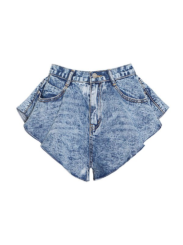 Ruffle Denim Shorts