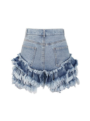 Fringe Combo Denim Shorts