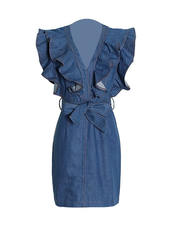 Frilled Belted Denim Dress