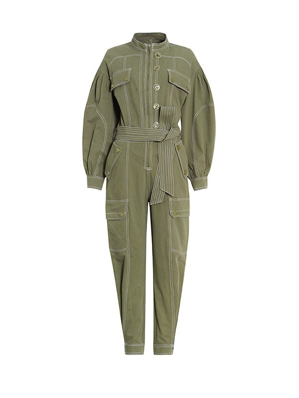 Puff-Sleeve Cargo Jumpsuit