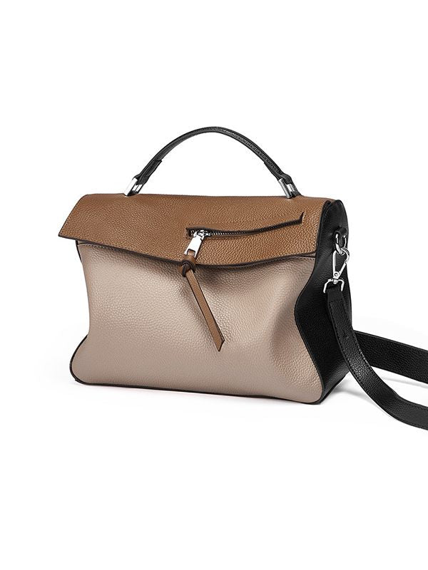 Contrast Top-Handle Bag