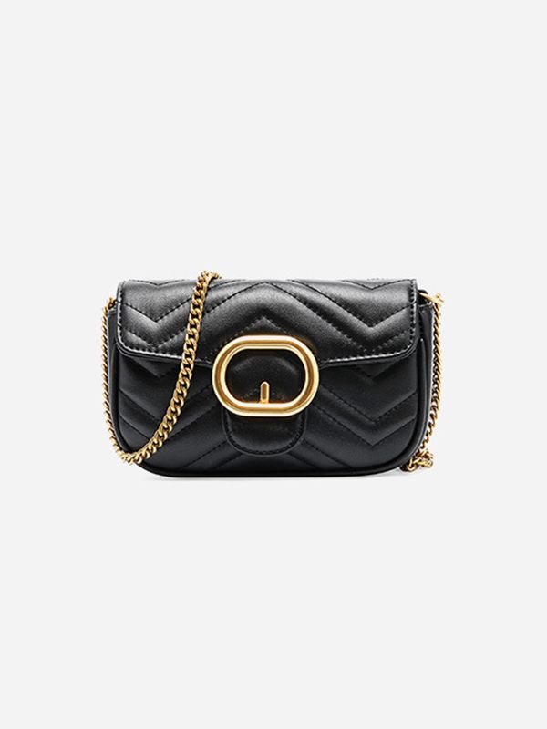 Quilted Buckle Chain Bag