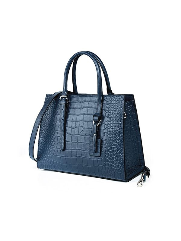 Crocodile-Embossed Top-Handle Bag