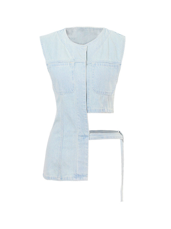 Tied Denim Vest