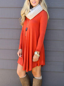 Dresses - Long Sleeve Solid Color Casual Dress