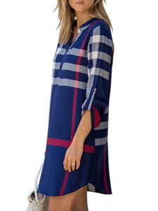 Dresses - Plaid Cuff Sleeve Buttom Dress