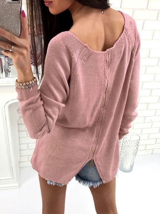 Back Zipper Plain Sweater - Queenfy