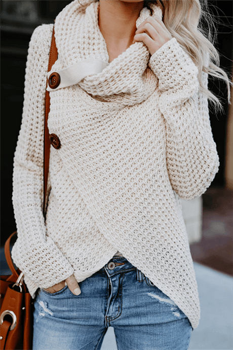 Cowl Neck Button Sweater