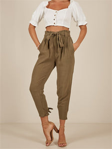 High Waist Jogger Pants With Belt