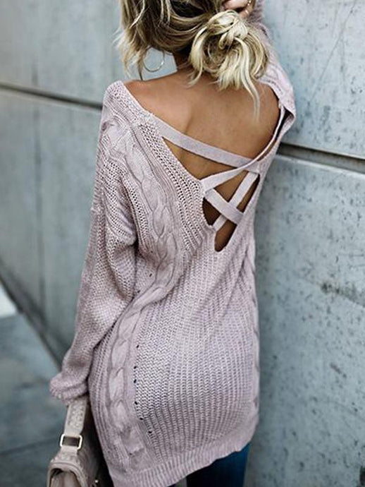 Tops - Backless Bandage Loose Sweater