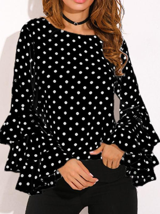 Tops - Polka Dot Layered Sleeve Shirt