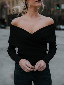 Strapless V Neck Sweater - Queenfy