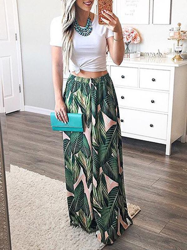 Leaf Printed Loose Long Pants - Queenfy