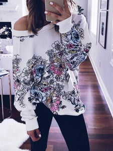 Print One Shoulder Floral Blouse - Queenfy