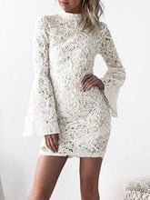 Load image into Gallery viewer, Lace White Pierced Back Zip Mini Dress - Queenfy