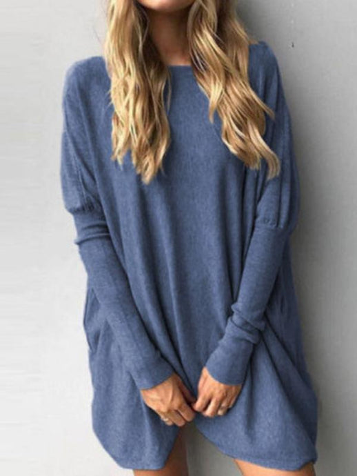 Long Sleeve Plain Sweater - Queenfy