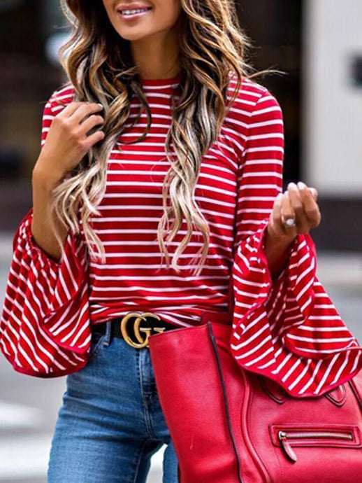 Round Neck Flared Sleeve Stripe Blouse - Queenfy