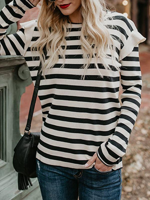 Striped Frill Ribbed Blouse - Queenfy