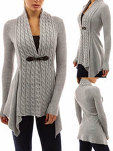 Load image into Gallery viewer, Asymmetric Sweaters Long Sleeve Cardigan - Queenfy