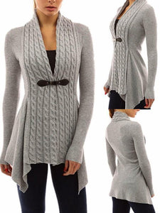 Asymmetric Sweaters Long Sleeve Cardigan - Queenfy