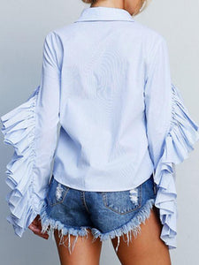 Agaric Pleated Side Long Sleeve Blouse - Queenfy