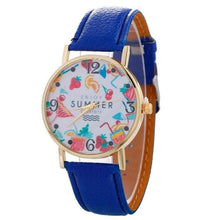 2017 Womens Quartz Watch Bracelet With Leather Strap Blue Bracelets