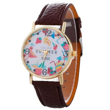 2017 Womens Quartz Watch Bracelet With Leather Strap Brown Bracelets