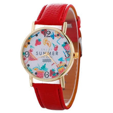2017 Womens Quartz Watch Bracelet With Leather Strap Red Bracelets