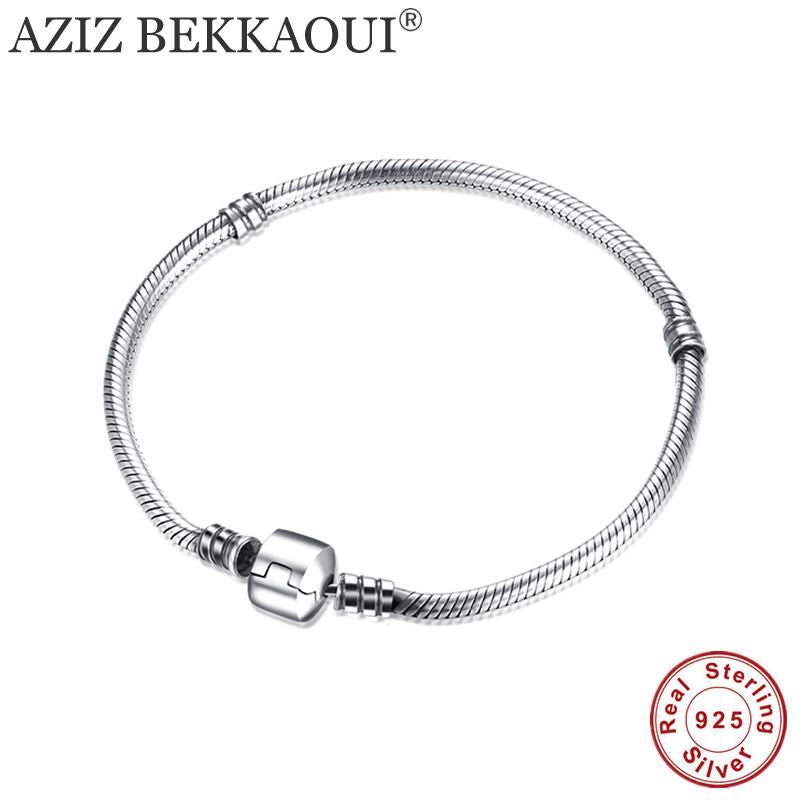 925 Sterling Silver Snake Chain Screw Bracelet Bracelets