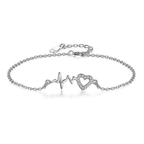 Authentic 925 Sterling Silver Crystal Heart Beat Bracelet