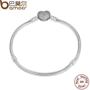 Authentic 925 Sterling Silver Love Heart Chain Snake Bracelet Bracelets