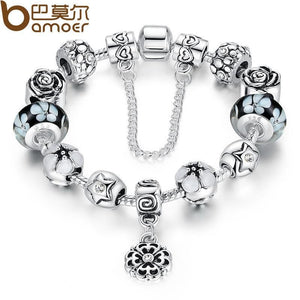Authentic Silver Color Round Safety Chain Bracelet With Exquisite Beads Bracelets