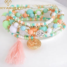 Bohemian Multi-Layer Colorful Beads Tassels Bracelet Bangles