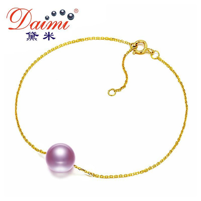 Daimi 7-7.5Mm Round Freshwater Pearl Bracelet 18K Yellow Gold Chain White/pink/purple Bracelets