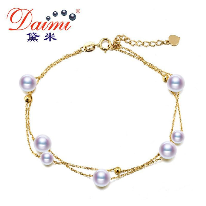 Daimi Akoya Pearl Bracelet G18K Yellow Gold Chain With White Perfectly Round Pearls Bracelets