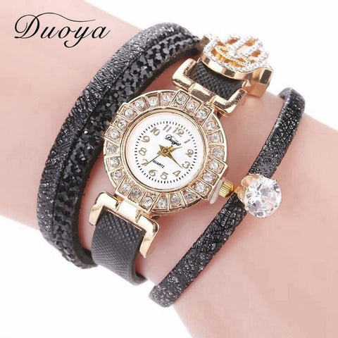Duoya Brand Watch Women Leather Strap Quartz With Rhinestones Vintage Ladies Female Top Quality Casual Dress Clock Dy116 Black Bracelets