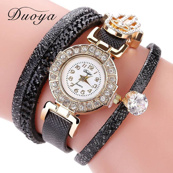 Duoya Brand Watch Women Leather Strap Quartz With Rhinestones Vintage Ladies Female Top Quality Casual Dress Clock Dy116 Bracelets
