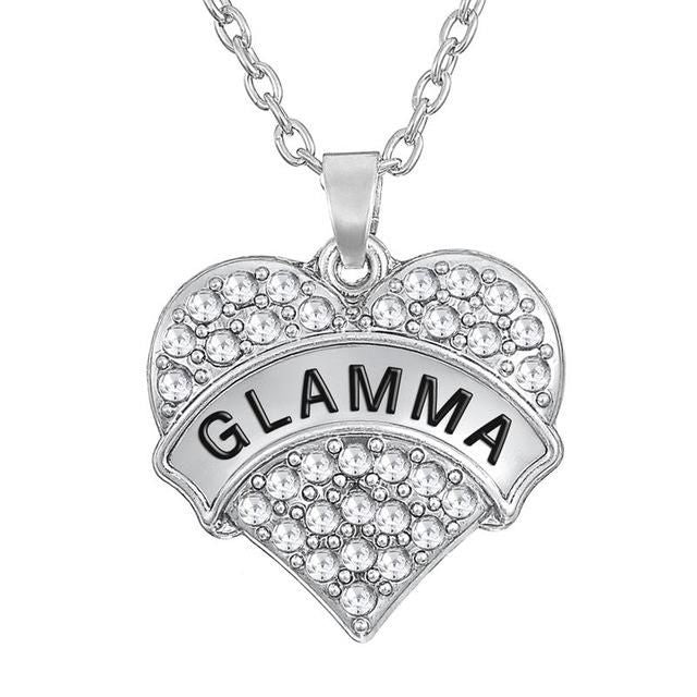 I Love You Mom Daughter Nana Aunt Niece Sister Friend Grandma Crystal Hearts Pendant Glamma / Rhodium Plated Necklace