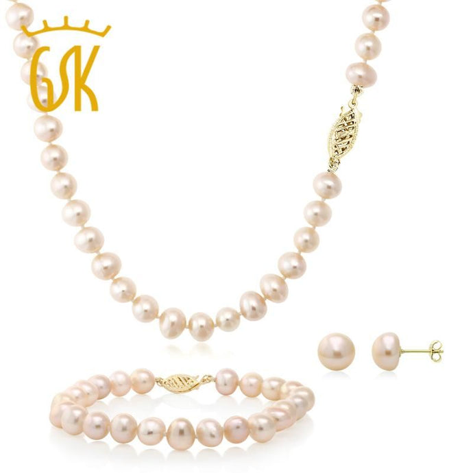 Pink Freshwater Pearl Set In 14K Yellow Gold Jewelry
