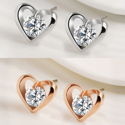New Silver Plated Baby Crystal Heart Earrings
