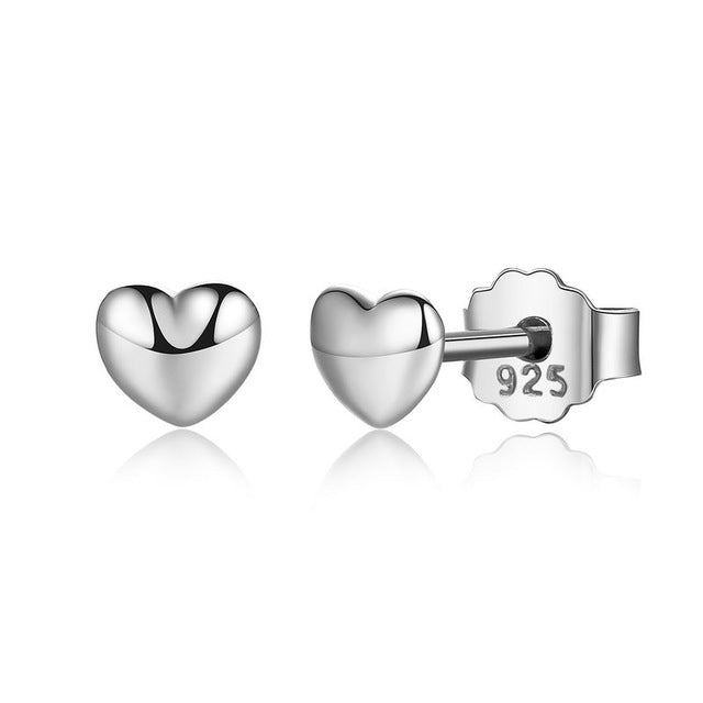 Baby Heart Stud Earrings - S925 Sterling Silver