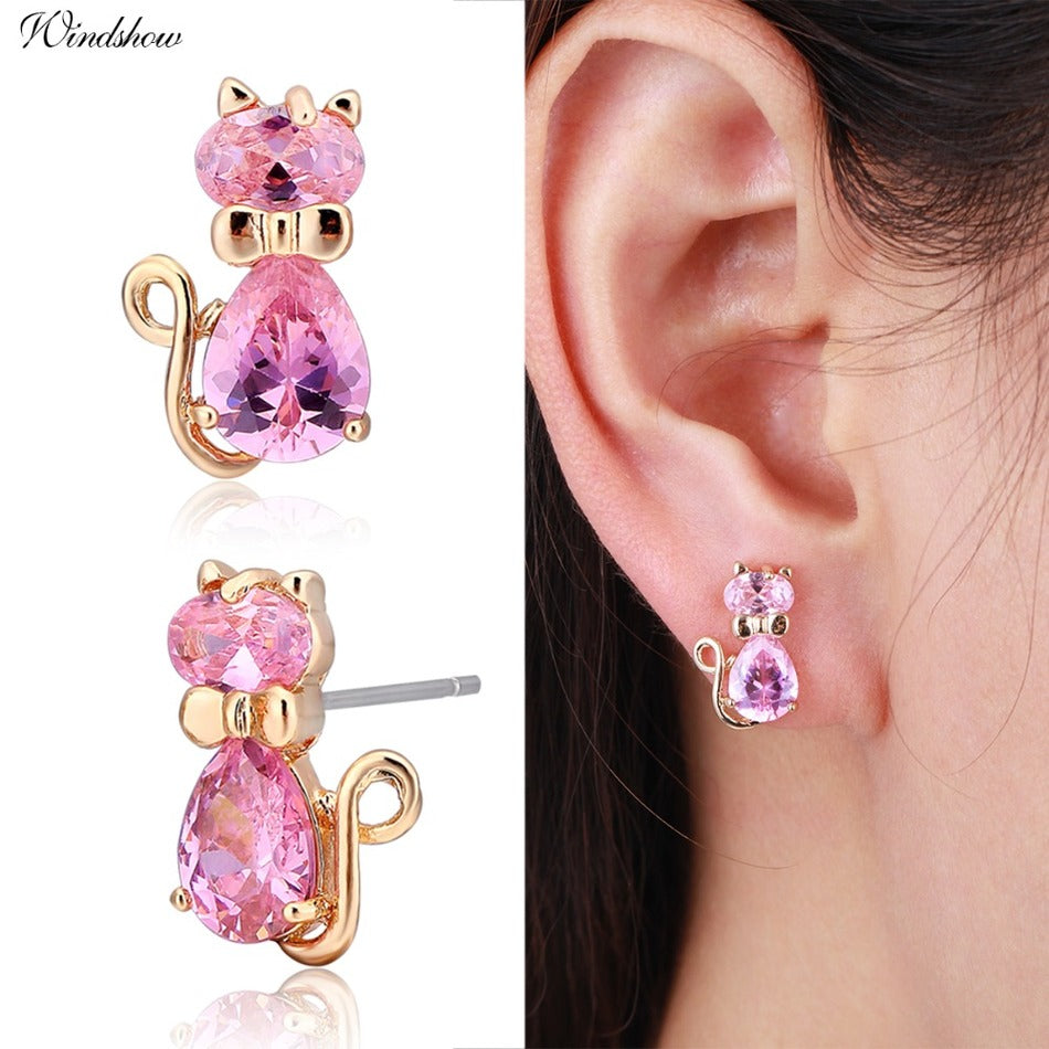 Baby Bow Knot Kitten Stud Earrings
