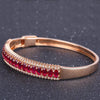 Robira 2017 Trendy 18K Rose Gold & Natural Ruby Pulseiras Lover Bracelet Bangle Bracelets