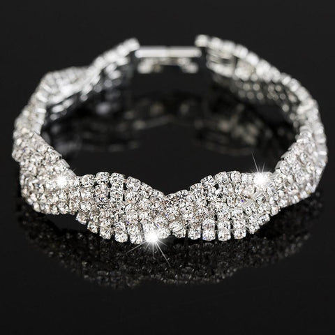 Stunning Rhinestones Austrian Crystal Bracelets Style One / White Gold/silver Color